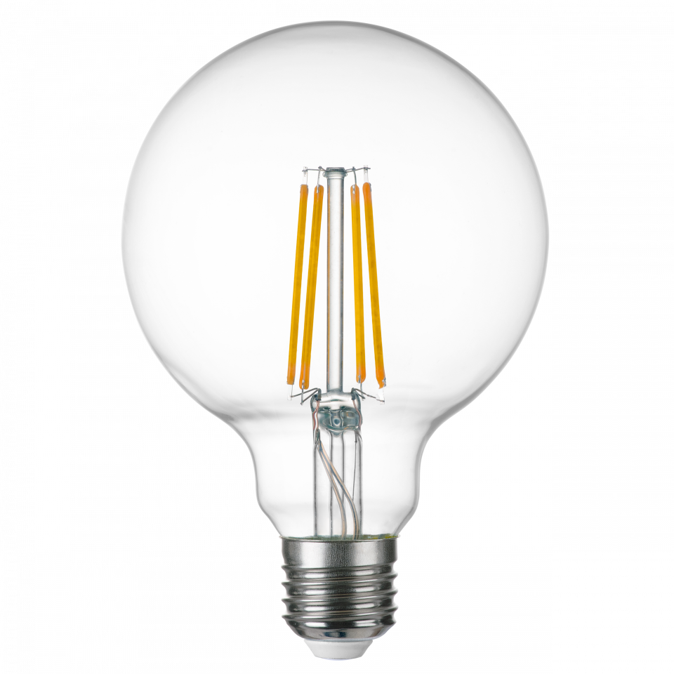 933104 Лампа LED FILAMENT 220V G95 E27 8W=80W 720LM 360G CL 4000K 30000H (в комплекте) | Lightstar LS933104